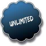 UNLIMITED text written on blue round label badge. Illustration Royalty Free Stock Photo
