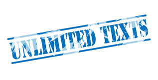 Unlimited texts blue stamp. On white background Stock Image