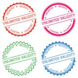 Unlimited validity badge isolated on white. Unlimited validity badge isolated on white background. Flat style round label with text. Circular emblem vector Stock Image