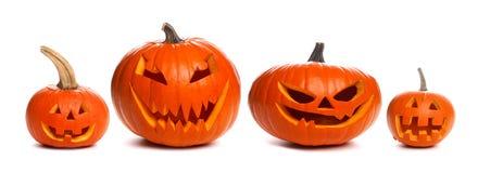 Unlit Halloween Jack o Lanterns individually isolated on white Royalty Free Stock Photos