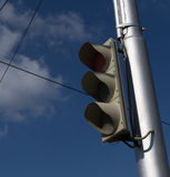 Unlit Traffic Light on Silver Post Royalty Free Stock Image