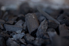 Unlit wood coal. Macro shot of some unlit wood coal stock photo