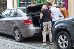 Unload luggage from the car royalty free stock photos