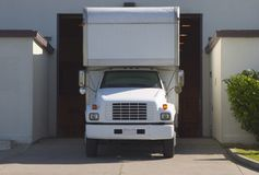 Unload Truck #2. A truck in the loading dock stock image