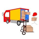 Unloading. Two stickmen unloading their truck Royalty Free Illustration