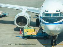 Air logistics.The unloading! royalty free stock photos