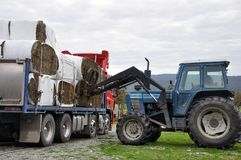 Unloading bales on truck Royalty Free Stock Photo