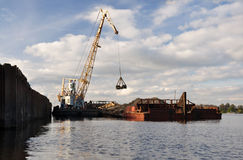 Unloading the barge. Stock Images