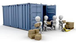 Unloading boxes Stock Image
