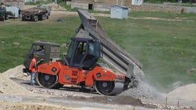 Unloading building rubble KAMAZ stock video footage