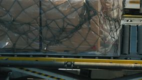 Unloading of cargo from the aircraft at the airport. Close up stock footage