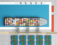Unloading of cargo ship. Top view Stock Image
