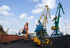 Unloading coal at the port of Nakhodka. Far East of Russia. 16.10.2012 Royalty Free Stock Photography
