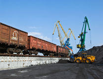 Unloading coal at the port of Nakhodka. Far East of Russia. 16.10.2012 Royalty Free Stock Images