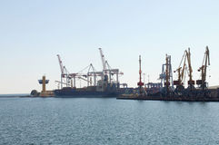 Unloading of container ship. In port of Odesa, Ukraine Royalty Free Stock Image