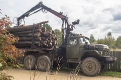 Unloading firewood from the truck in the Leningrad region of Russia. Stock Images