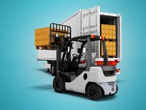 Unloading goods from trailer with forklift 3d render on blue background with shadow. Unloading goods from trailer with forklift 3d render on blue background stock illustration