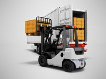 Unloading goods from trailer with forklift 3d render on gray background with shadow. Unloading goods from trailer with forklift 3d render on gray background stock illustration