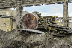 Unloading of hot incandescent slag by truck to slag dump. Waste management metallurgical industry Stock Photography