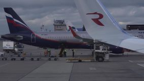Unloading the luggage from the plane of Aeroflot in Sochi International Airport stock footage video. Sochi, Russia - January 27, 2017: Unloading the luggage from stock video