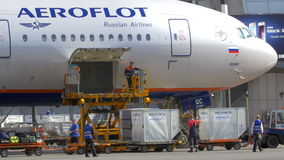 Unloading Plane from the Cargo and Luggage. MOSCOW, RUSSIA - JULY 1, 2015: Airport workers are unloading the plane from cargo and passengers' luggage in the stock video footage