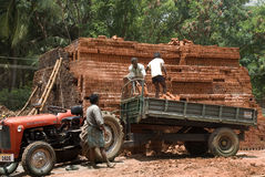 Unloading and stacking mud bricks Stock Image