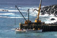 Unloading supplies at Norfolk Island Royalty Free Stock Photos