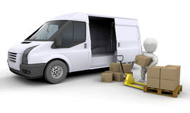 Unloading a van Royalty Free Stock Images