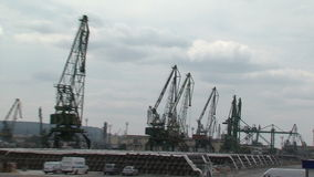 Unloading zone of Varna port in Bulgaria stock video footage
