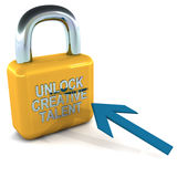 Unlock creative talent. Word in shiny chrome on a golden lock being approached by a mouse cursor arrow Royalty Free Stock Photos