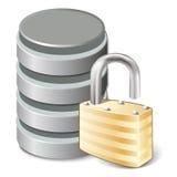 Unlock database. Unlock Concept icon, Database and open padlock, isolated on white, vector illustration royalty free illustration