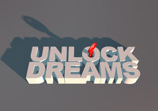 UNLOCK DREAMS TYPOGRAPHY METAPHOR WITH KEY FOR aspiration Royalty Free Stock Photos
