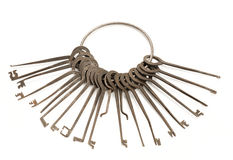Unlock Equipment Wiith Key Ring Royalty Free Stock Photography