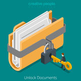 Unlock folder secure data file document lock key flat vector 3d. Unlock folder secure data file document with lock key icon. Flat 3d isometry isometric web Royalty Free Stock Photo