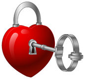 Unlock heart with a silver key Stock Image