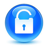 Unlock icon glassy cyan blue round button Stock Photo