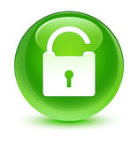 Unlock icon glassy green round button Stock Images