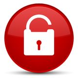 Unlock icon special red round button Royalty Free Stock Images