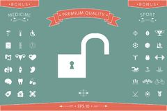 Unlock icon symbol. Unlock icon . Signs and symbols - graphic elements for your design Royalty Free Stock Photography