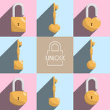 Unlock lock master key illustration royalty free illustration