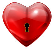 Unlock my heart. Vector red glossy heart with lock hole, eps10 file, gradient mesh and transparency used Royalty Free Stock Photo