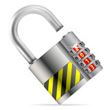Unlock New Year Concept. Open Security Lock with Code 2013,  on white, vector illustration Royalty Free Stock Images