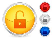 Unlock padlock button. Unlock padlock internet button set. Vector illustration Stock Photos