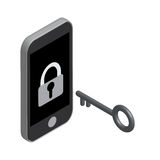 Unlock phone by the key isometric Royalty Free Stock Photography