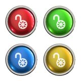 Unlock icon glass button. Unlock round shiny 4 color web icons with metal frame,3d rendered isolated on white background Stock Photography