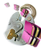 Unlock your learning and skills potential. Composition photo of an unlocked padlock with memory cards passing through to denote success in learning and skills Stock Photos