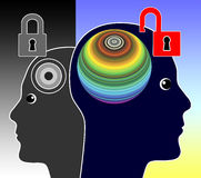 Unlock your Mind. Concept sign of a genius person unleashing his creative potentials Royalty Free Stock Photos