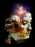 Unlock Your Mind. Surreal digital art of human head with padlock and lights on the subject of mental life, dreams, memory, consciousness, creativity and Stock Photography