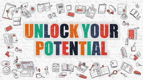Unlock Your Potential Concept with Doodle Design Icons. Stock Photography