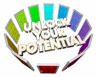 Unlock Your Potential Doors Future Skills Abilities. 3d Illustration Royalty Free Stock Images